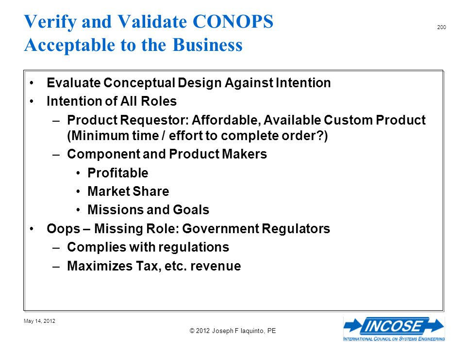 Verify and Validate CONOPS Acceptable to the Business