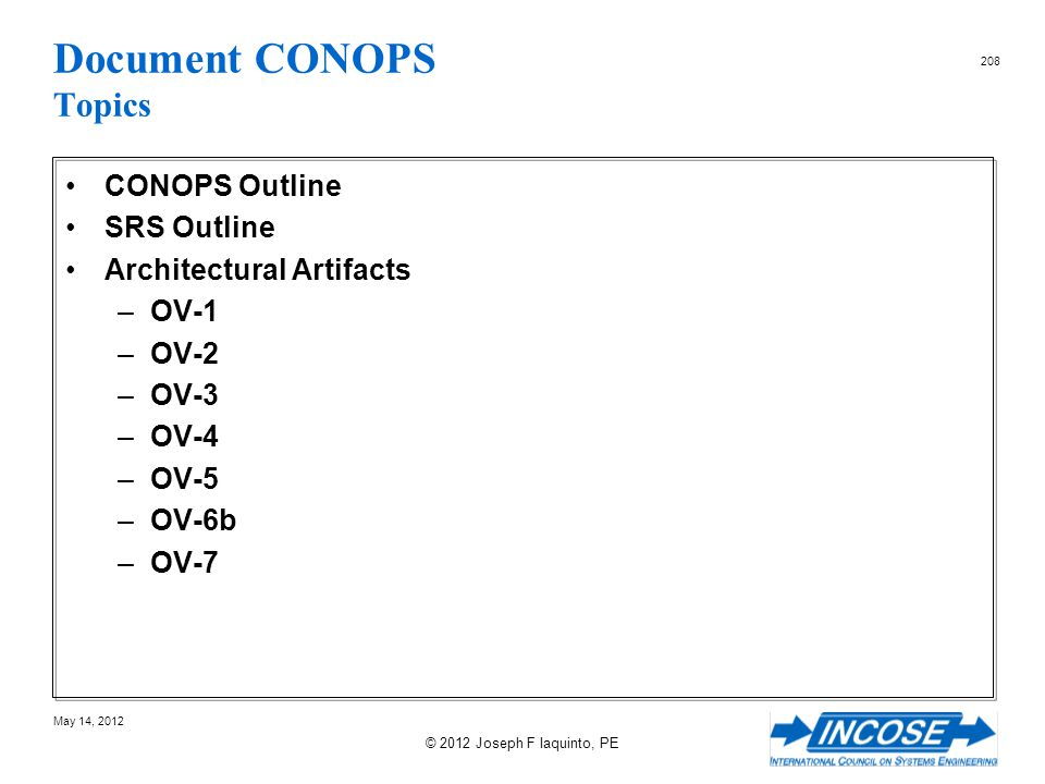 Document CONOPS Topics