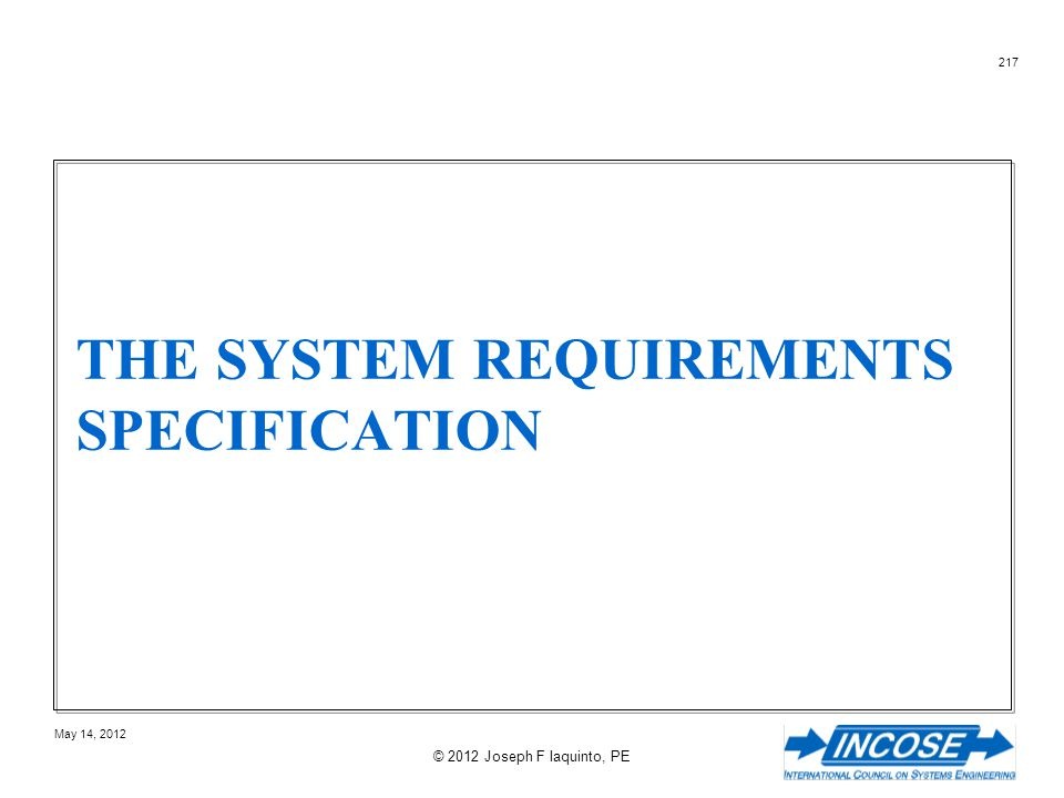 The System Requirements Specification