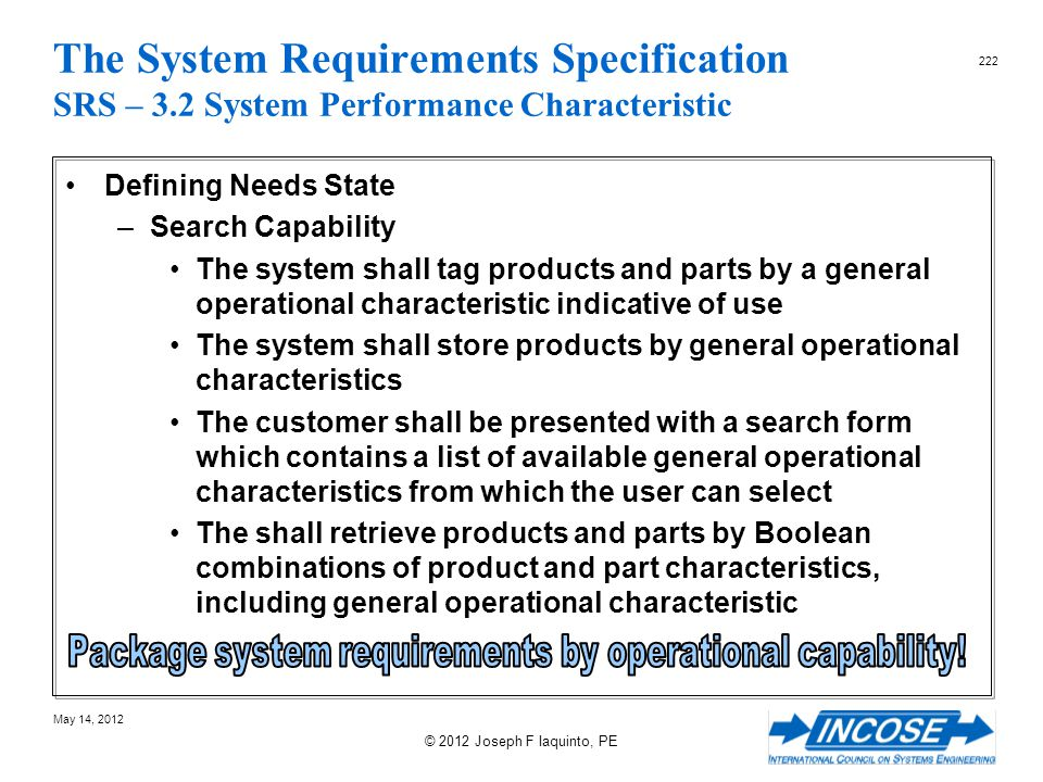 Package system requirements by operational capability!
