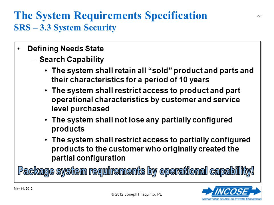 The System Requirements Specification SRS – 3.3 System Security