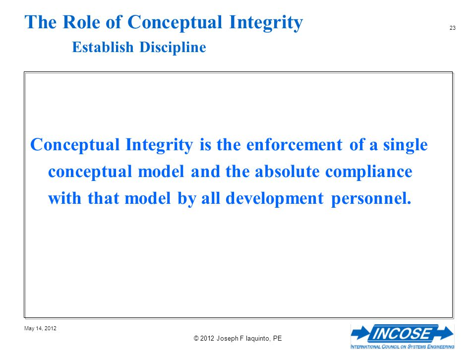 The Role of Conceptual Integrity Establish Discipline