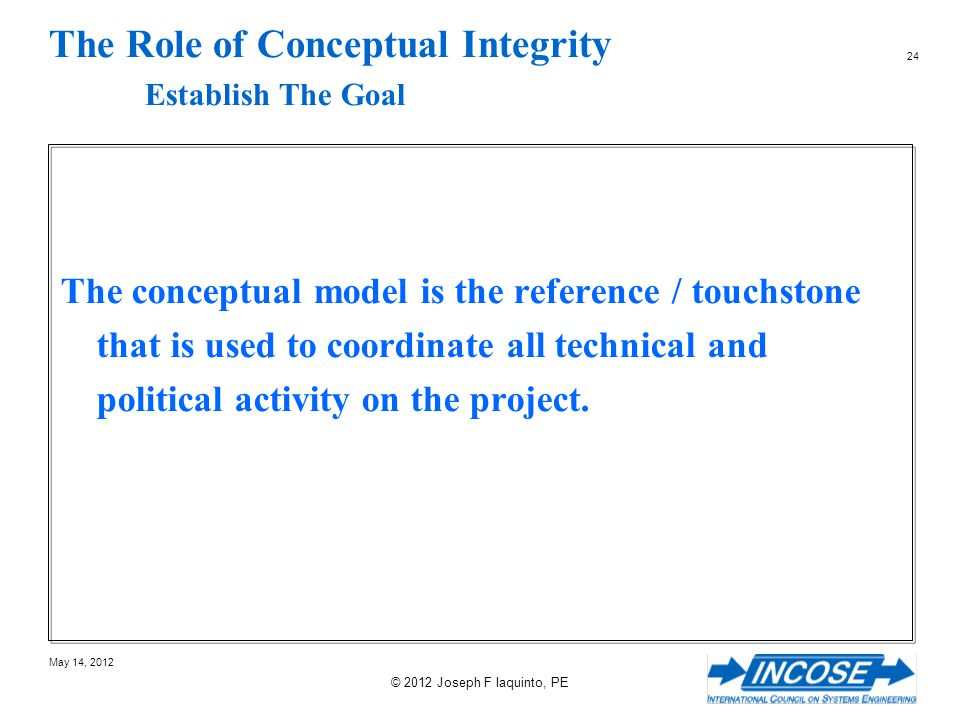 The Role of Conceptual Integrity Establish The Goal