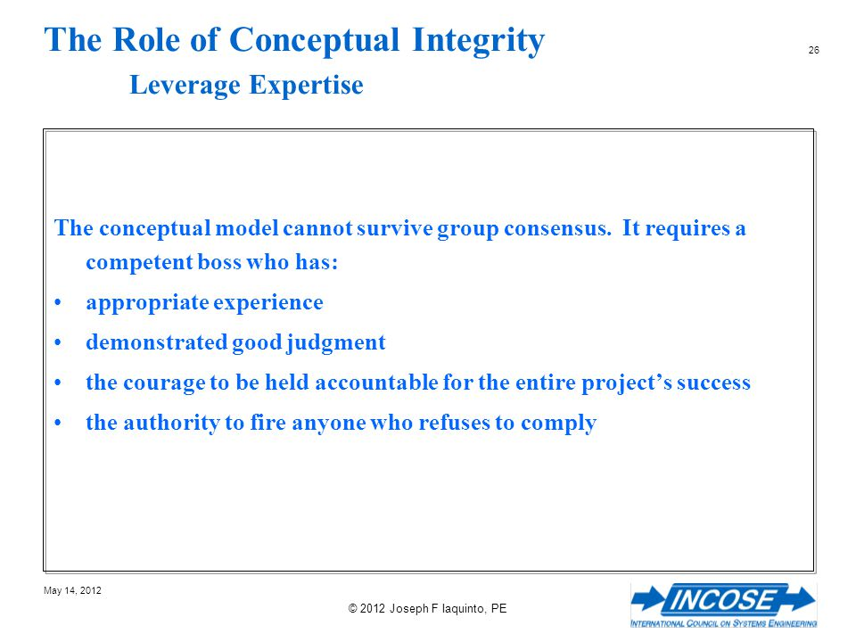 The Role of Conceptual Integrity Leverage Expertise