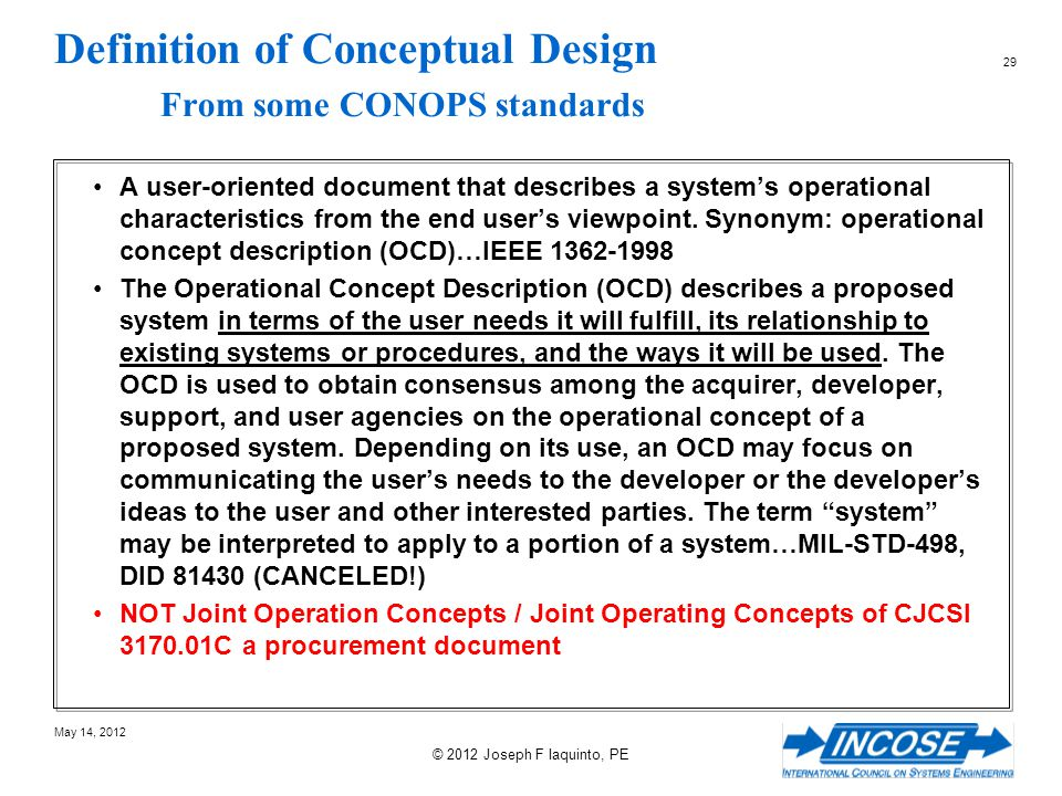 Definition of Conceptual Design From some CONOPS standards