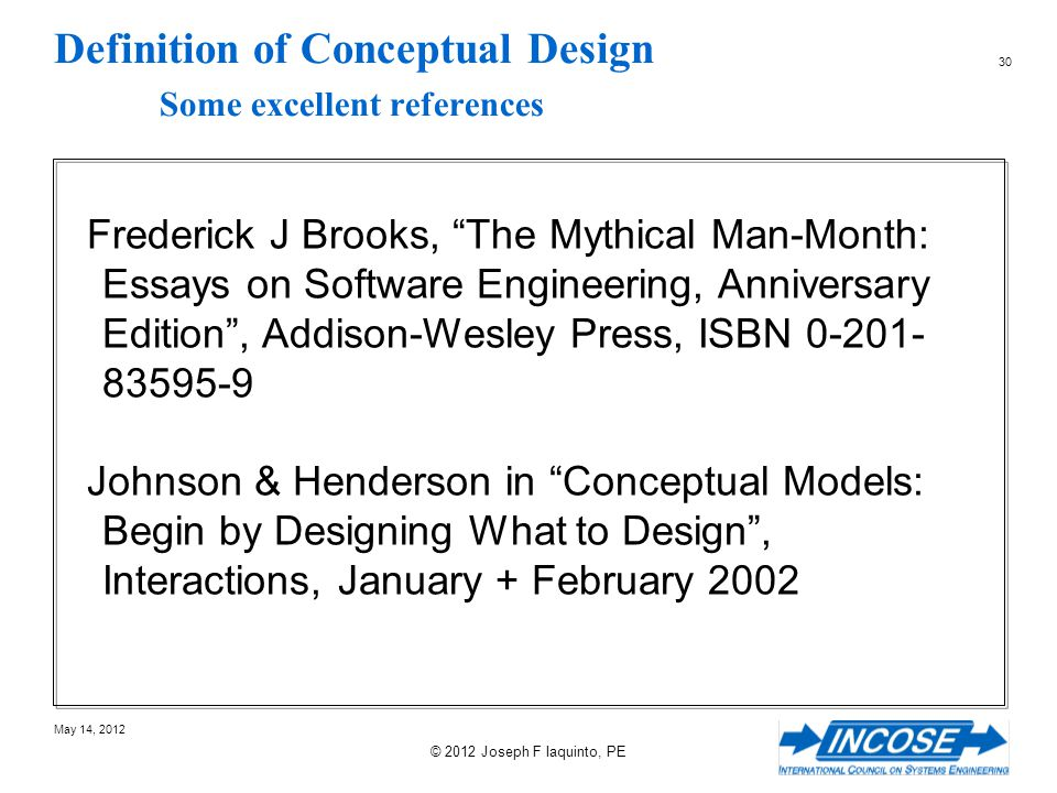 Definition of Conceptual Design Some excellent references