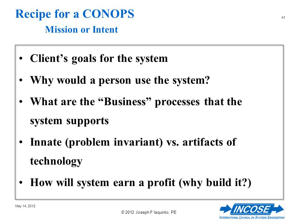 Recipe for a CONOPS Mission or Intent