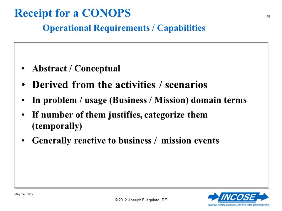 Receipt for a CONOPS Operational Requirements / Capabilities