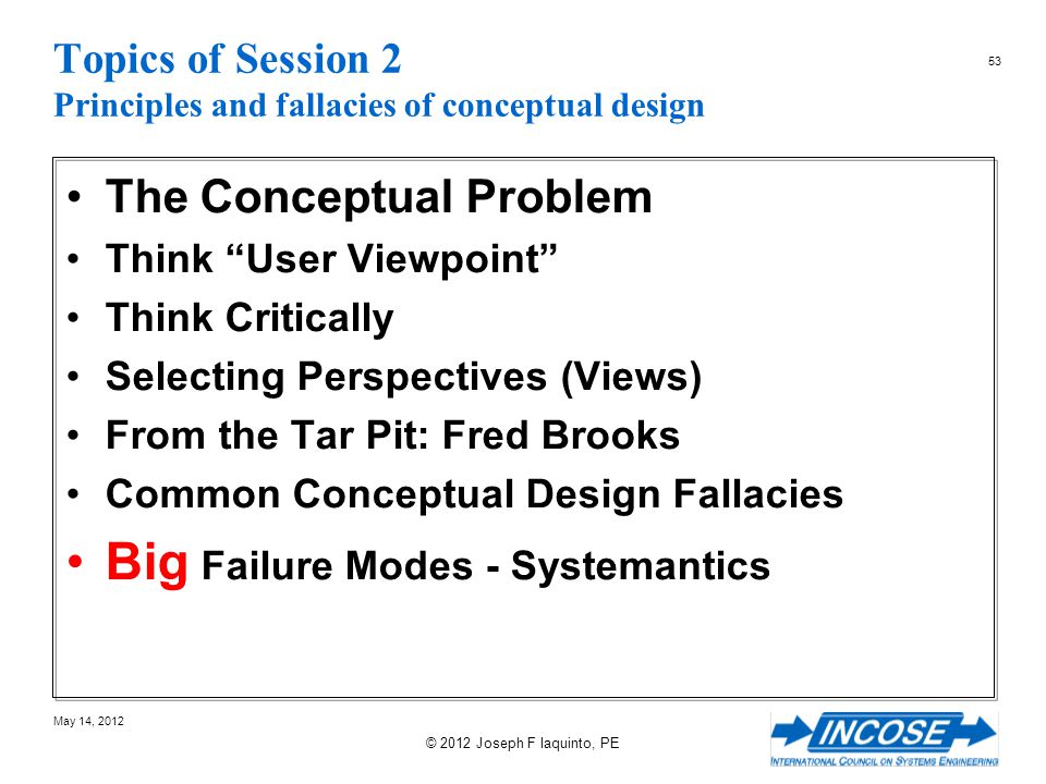 Topics of Session 2 Principles and fallacies of conceptual design