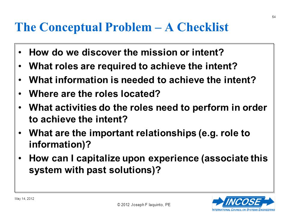 The Conceptual Problem – A Checklist