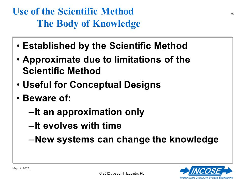 Use of the Scientific Method The Body of Knowledge