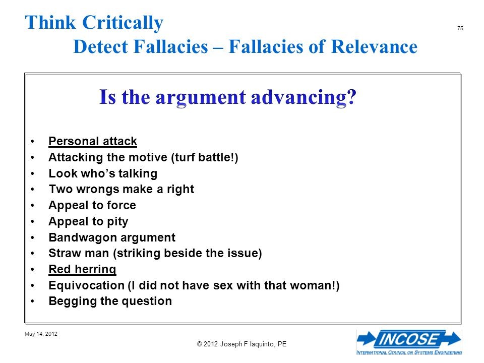 Think Critically Detect Fallacies – Fallacies of Relevance