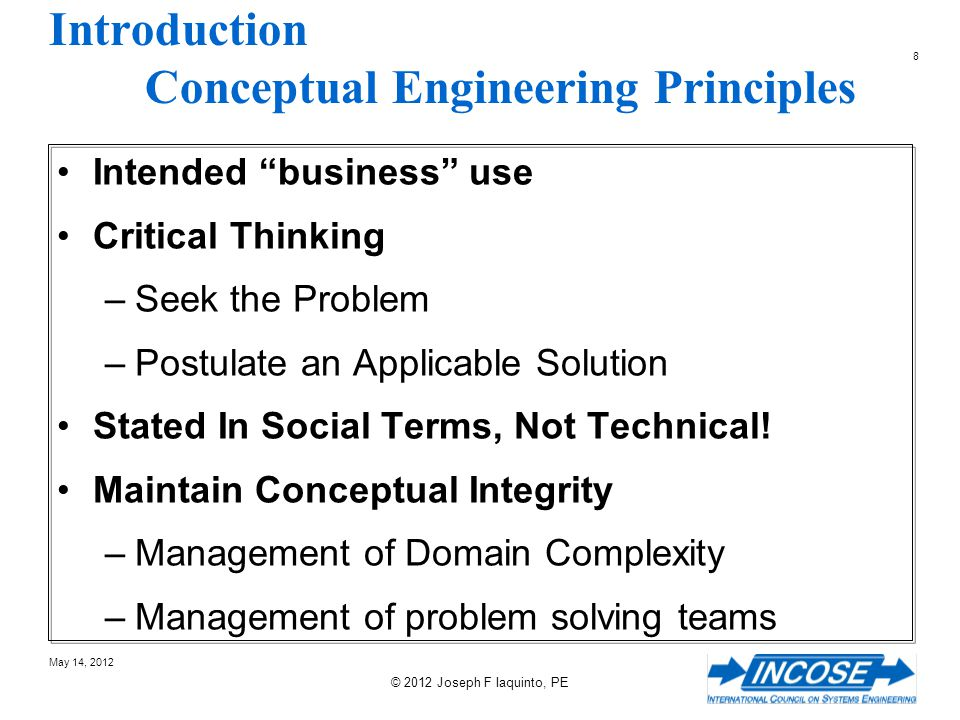 Introduction Conceptual Engineering Principles