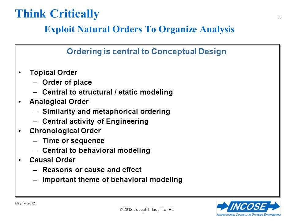 Think Critically Exploit Natural Orders To Organize Analysis