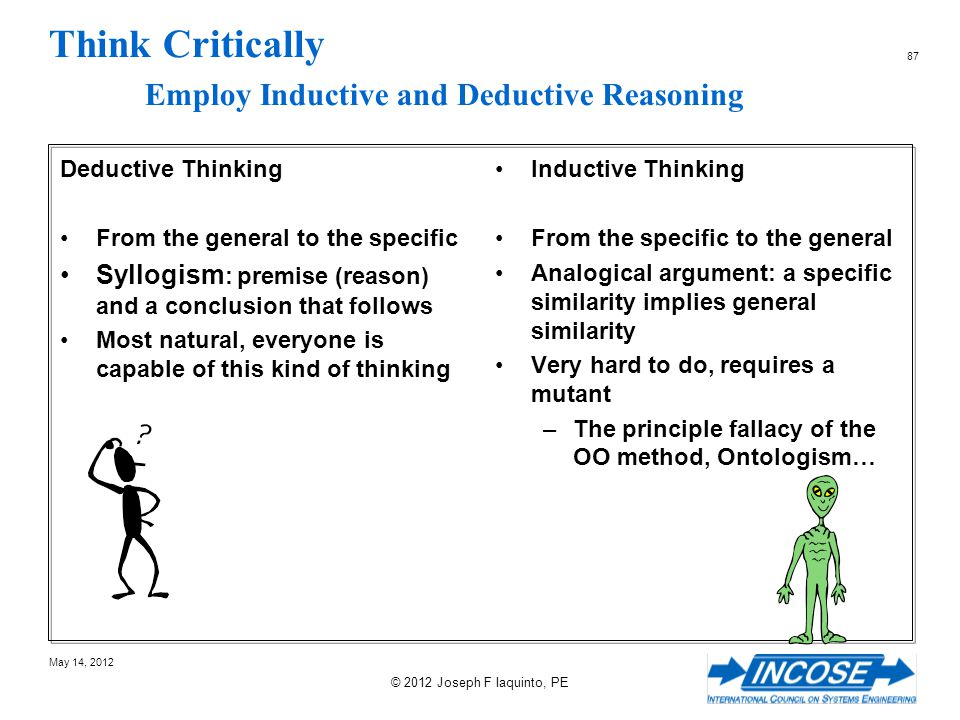 Think Critically Employ Inductive and Deductive Reasoning