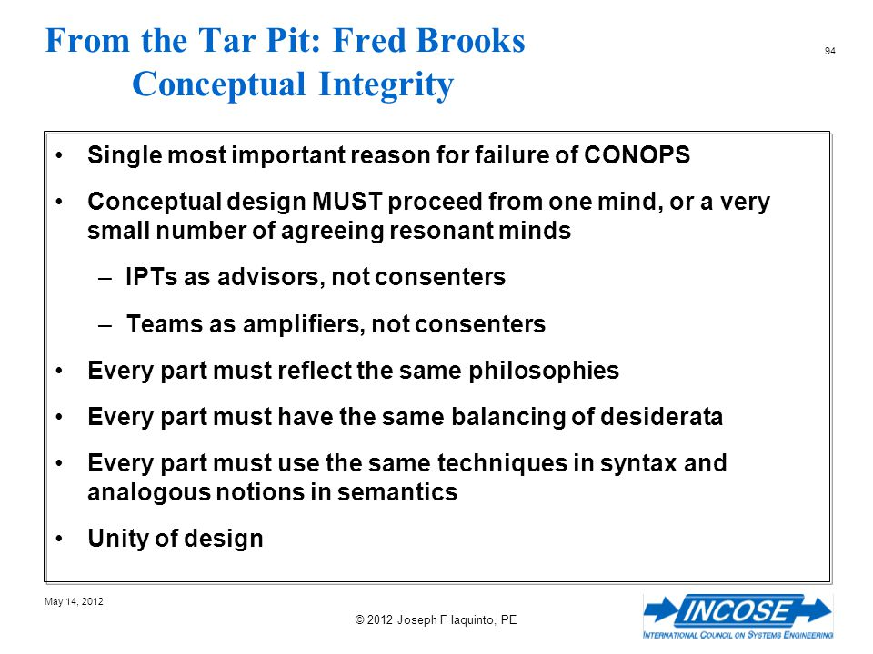 From the Tar Pit: Fred Brooks Conceptual Integrity