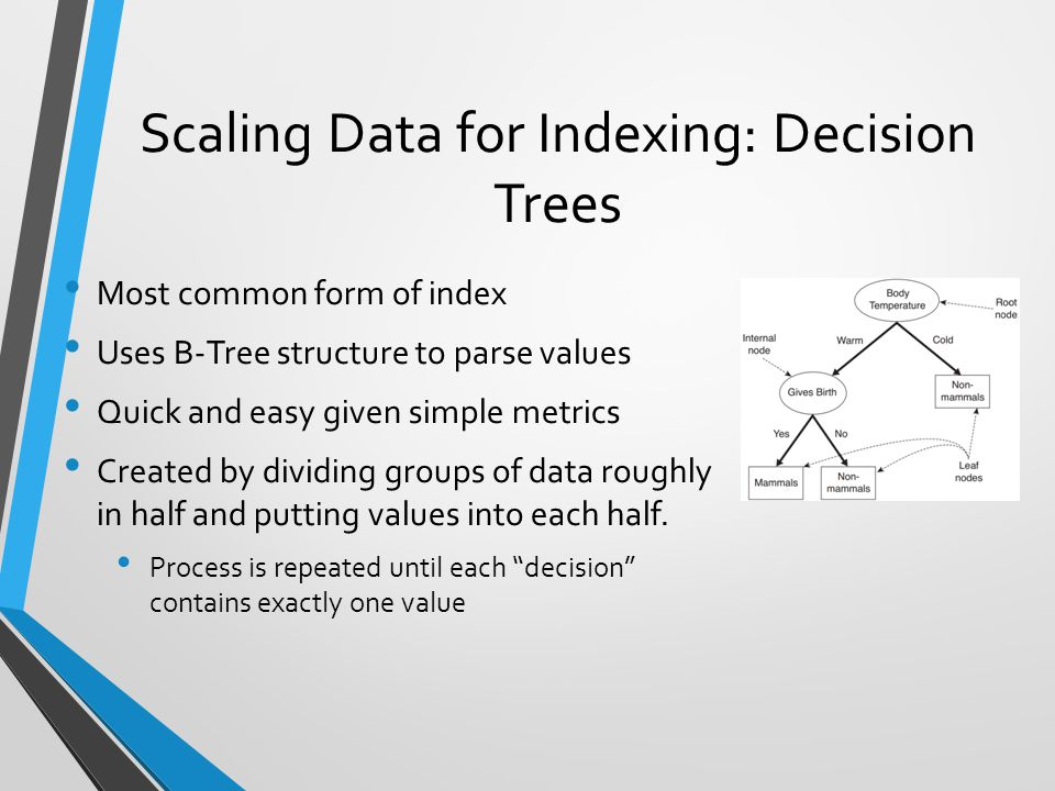 Scaling Data for Indexing: Decision Trees