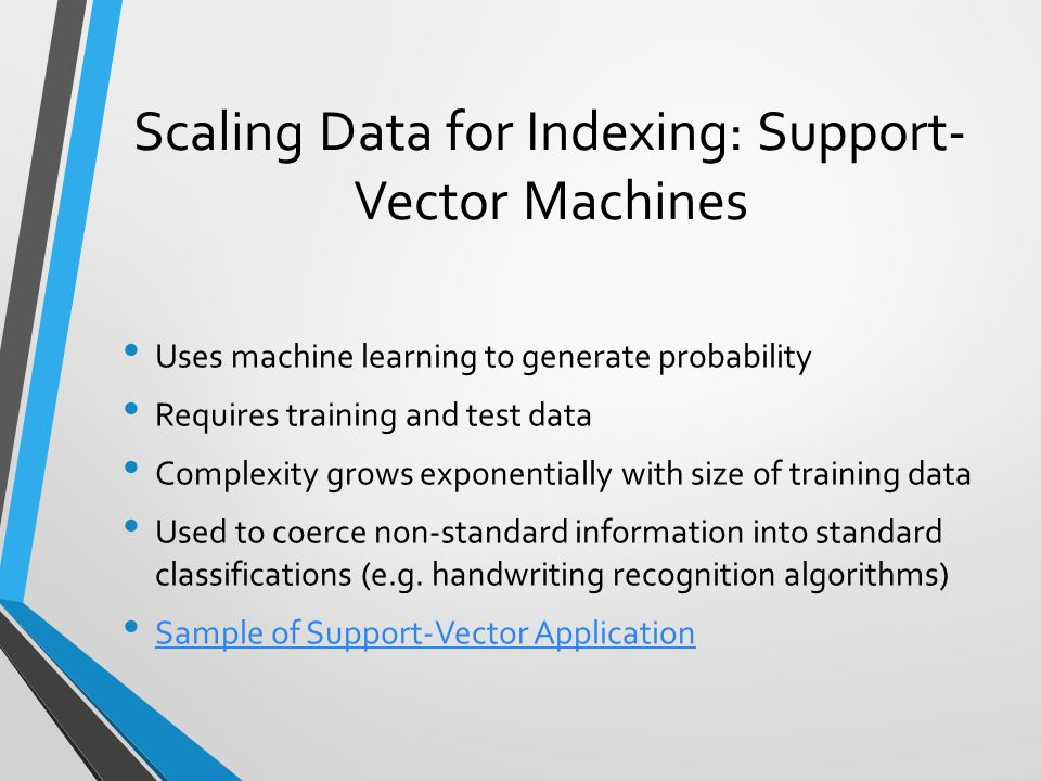 Scaling Data for Indexing: Support-Vector Machines