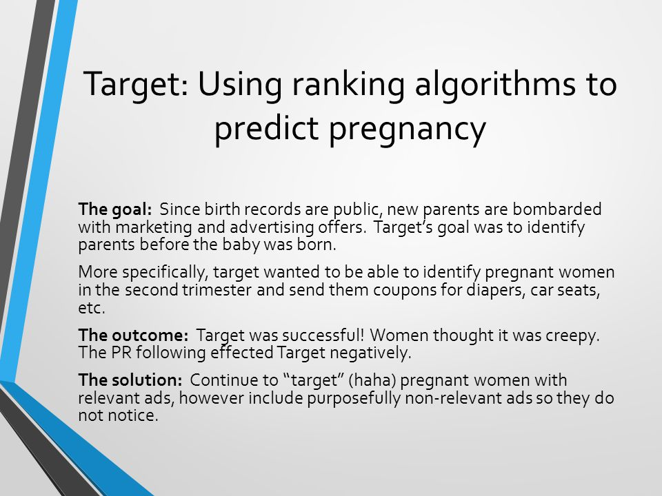 Target: Using ranking algorithms to predict pregnancy