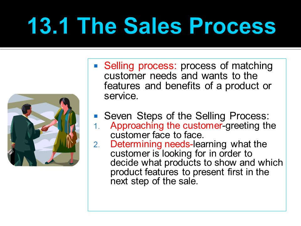 13.1 The Sales Process Selling process: process of matching customer needs and wants to the features and benefits of a product or service.