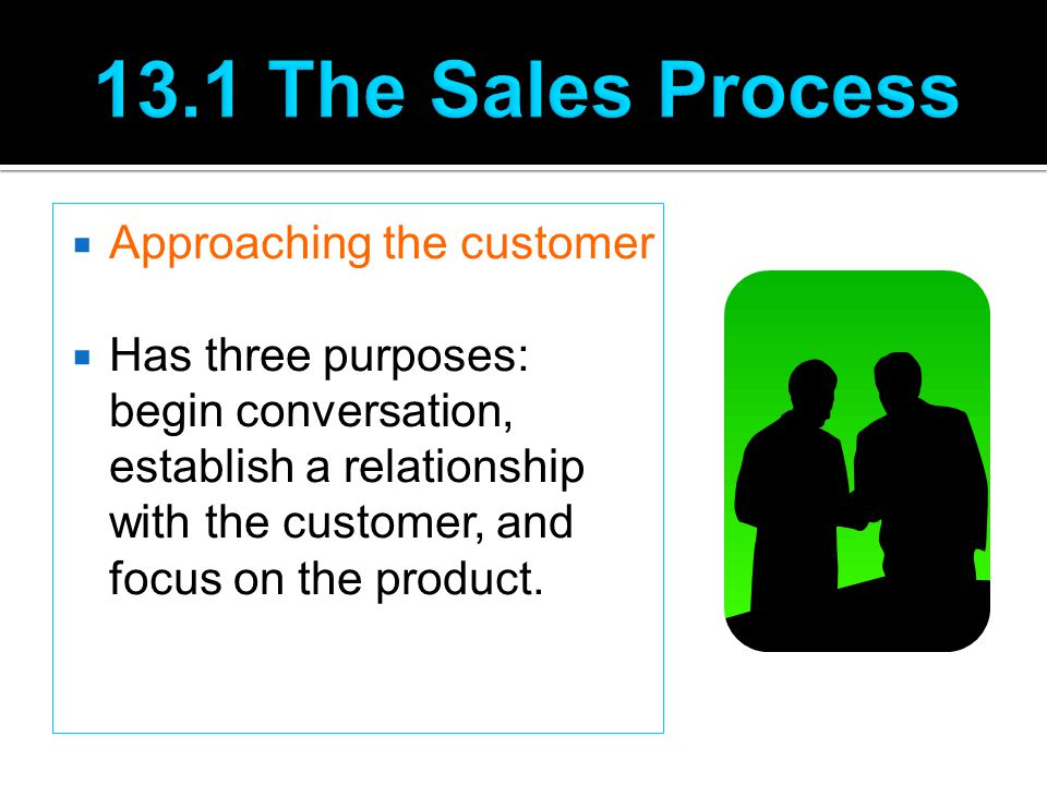 13.1 The Sales Process Approaching the customer
