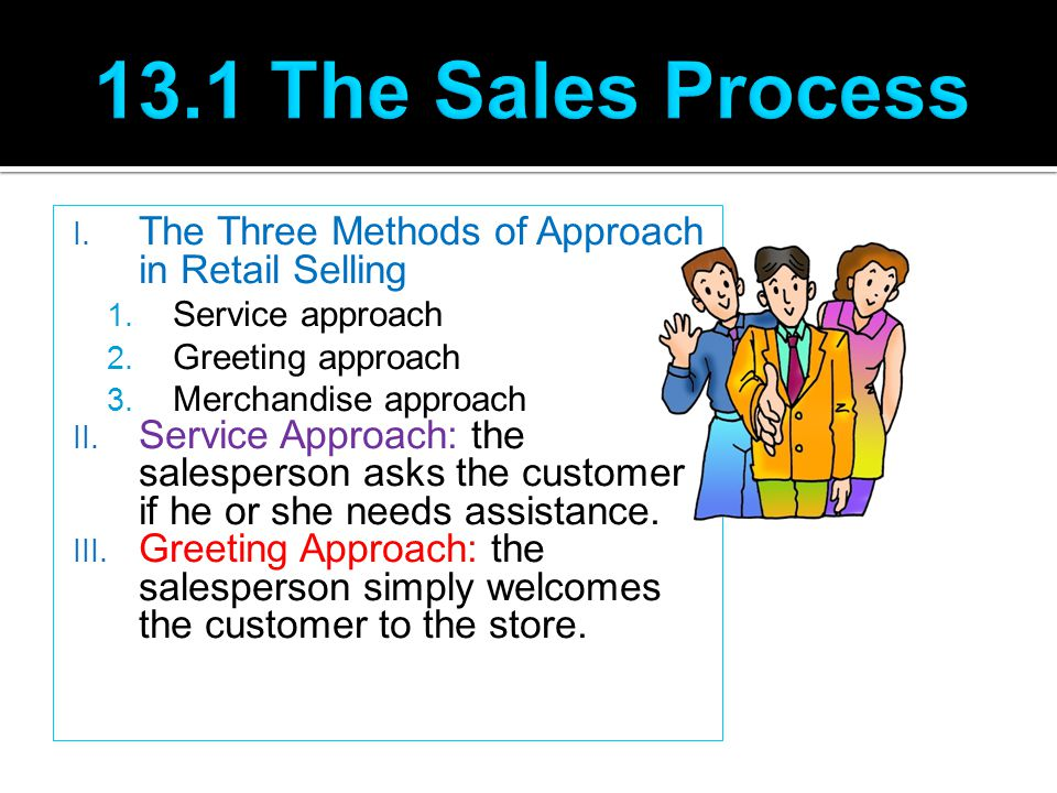 13.1 The Sales Process The Three Methods of Approach in Retail Selling