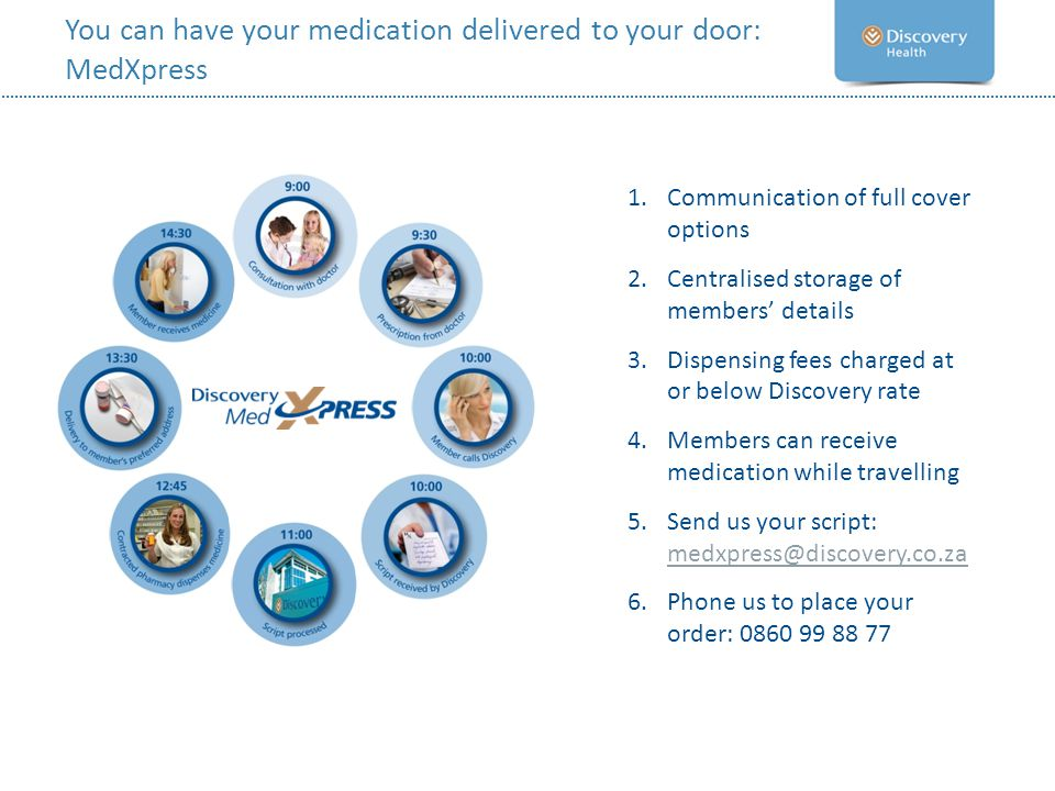 You can have your medication delivered to your door: MedXpress