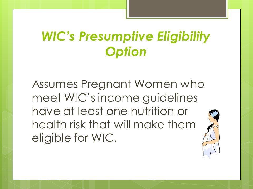 WIC's Presumptive Eligibility Option