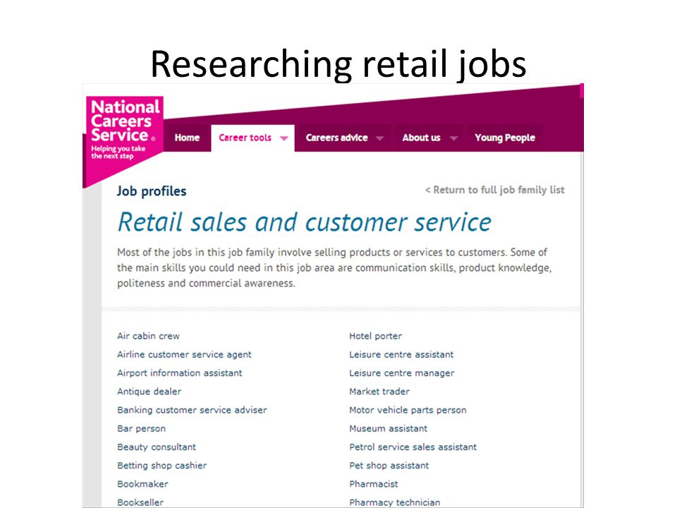 Researching retail jobs