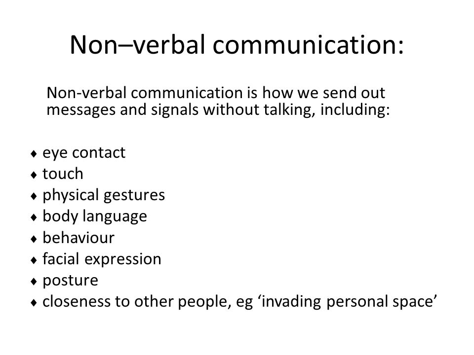 Non–verbal communication: