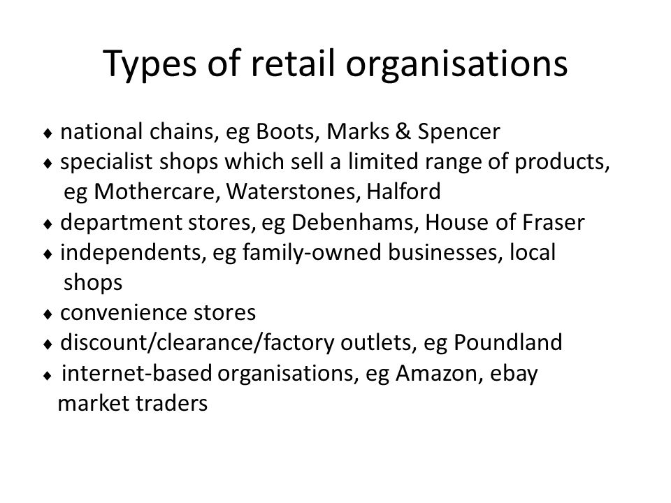 Types of retail organisations