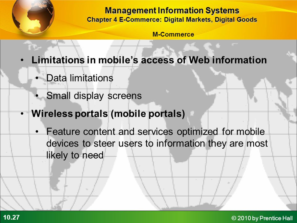 Limitations in mobile's access of Web information Data limitations