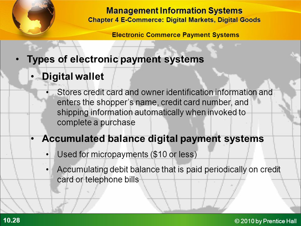 Types of electronic payment systems Digital wallet
