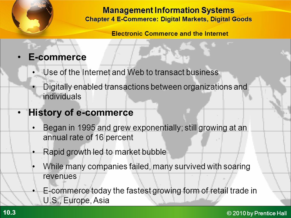E-commerce History of e-commerce Management Information Systems
