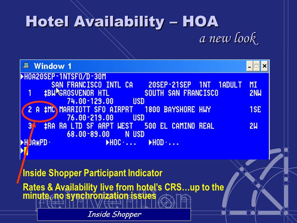 Hotel Availability – HOA a new look