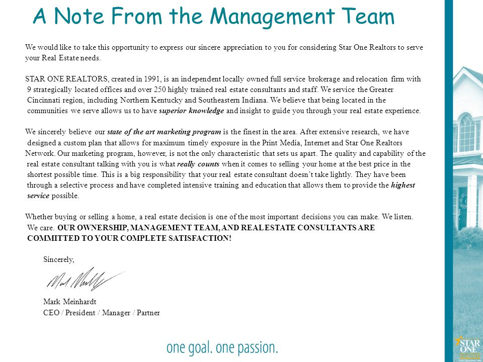 A Note From the Management Team