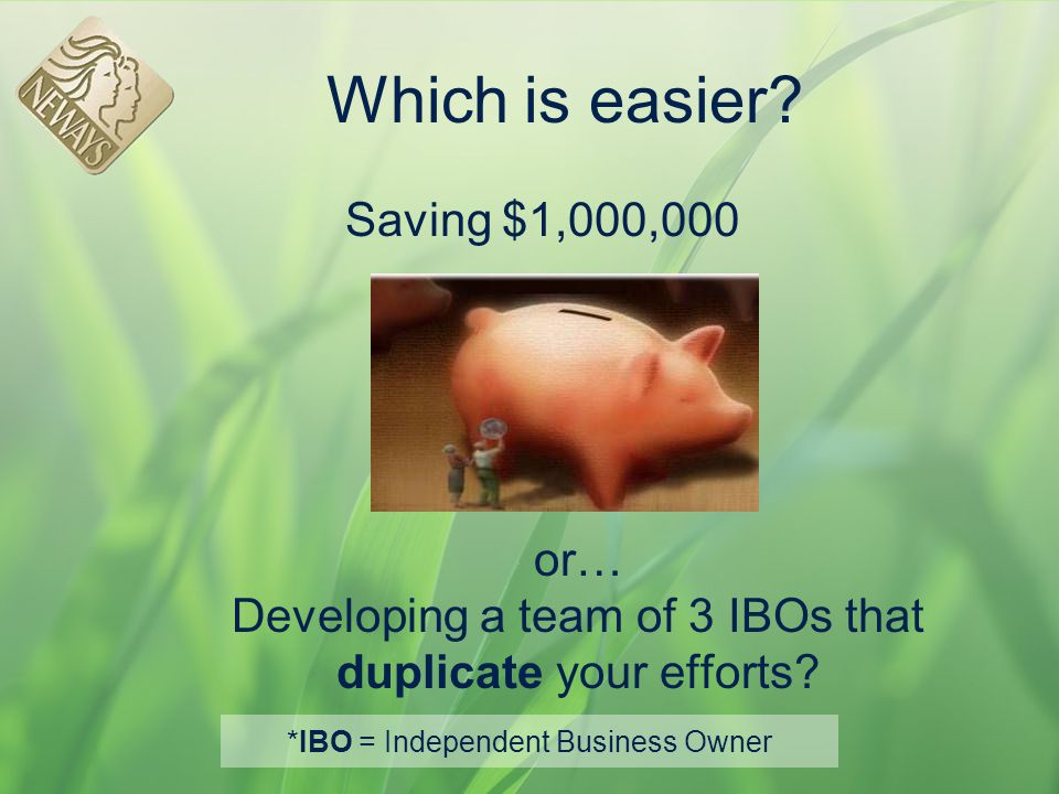 *IBO = Independent Business Owner
