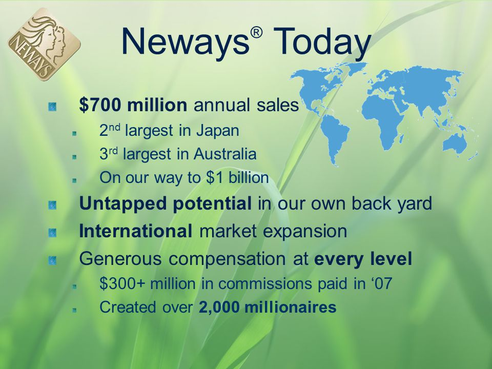 Neways® Today $700 million annual sales