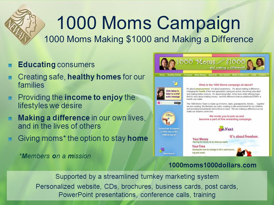 1000 Moms Campaign 1000 Moms Making $1000 and Making a Difference