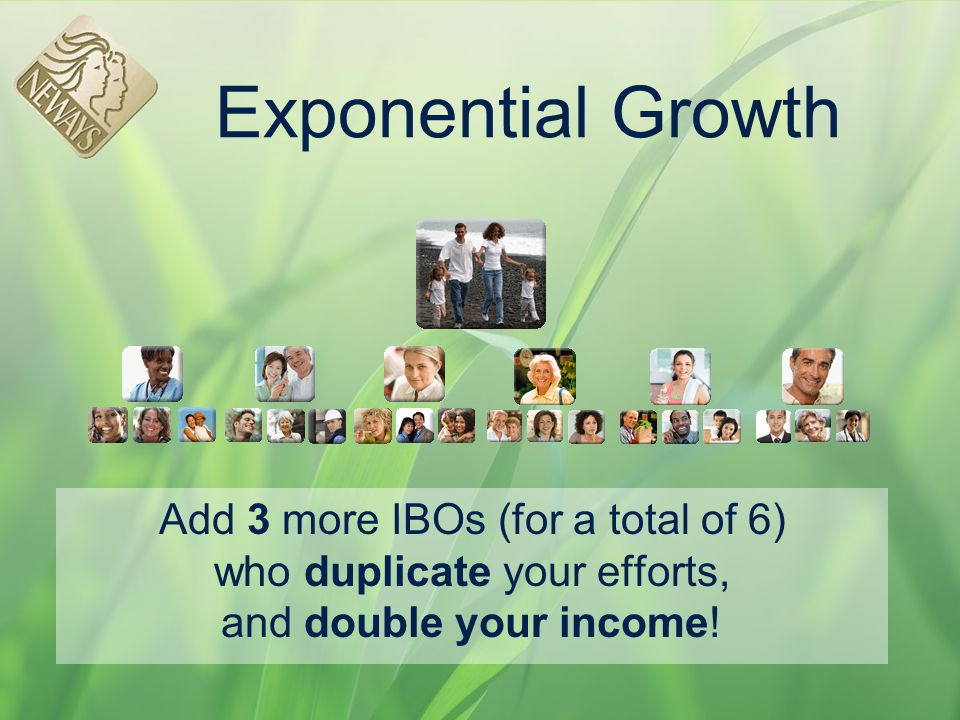 Exponential Growth Add 3 more IBOs (for a total of 6) who duplicate your efforts, and double your income!
