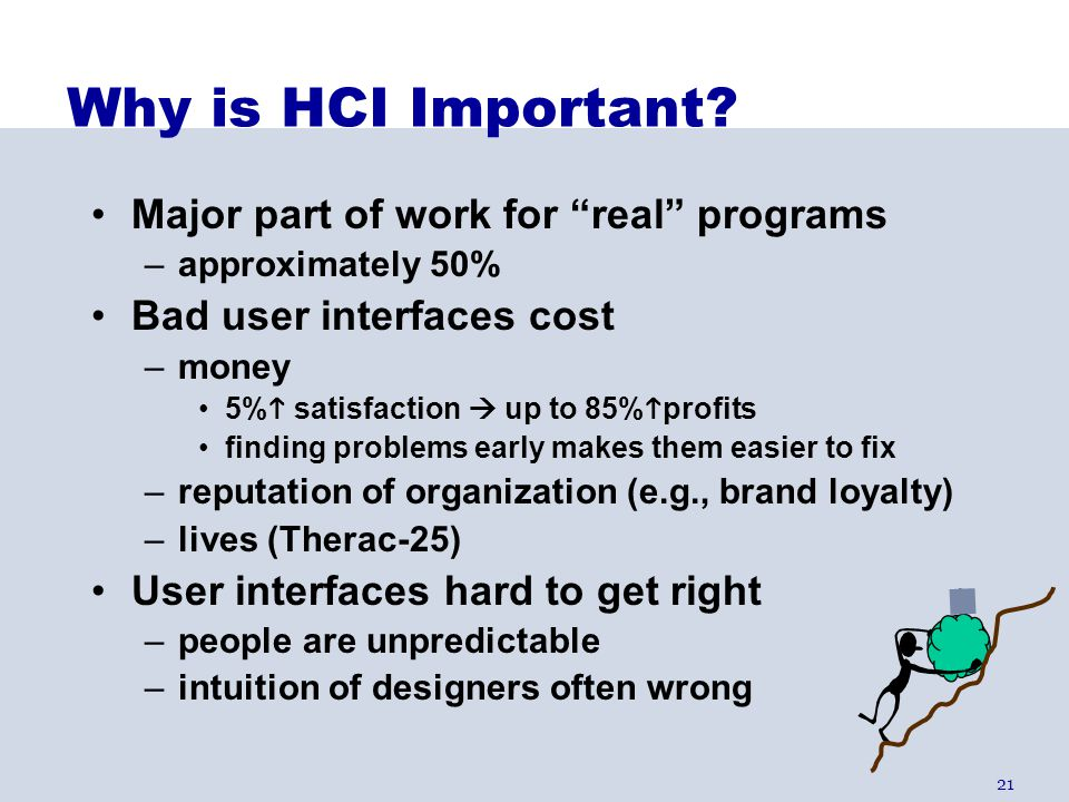 Why is HCI Important Major part of work for real programs