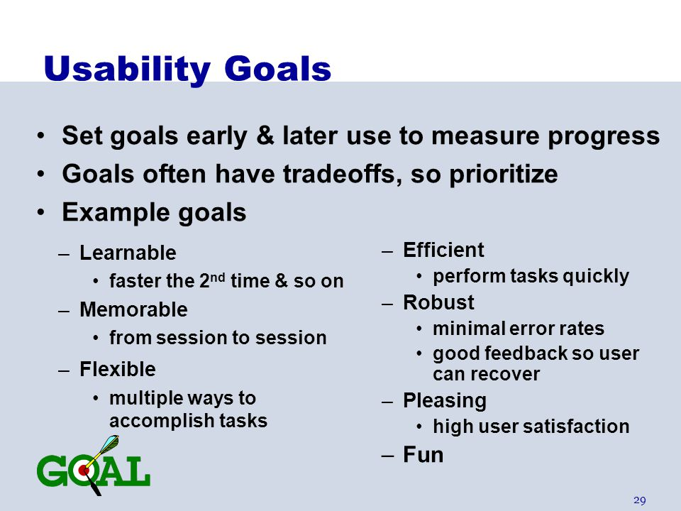 Usability Goals Set goals early & later use to measure progress