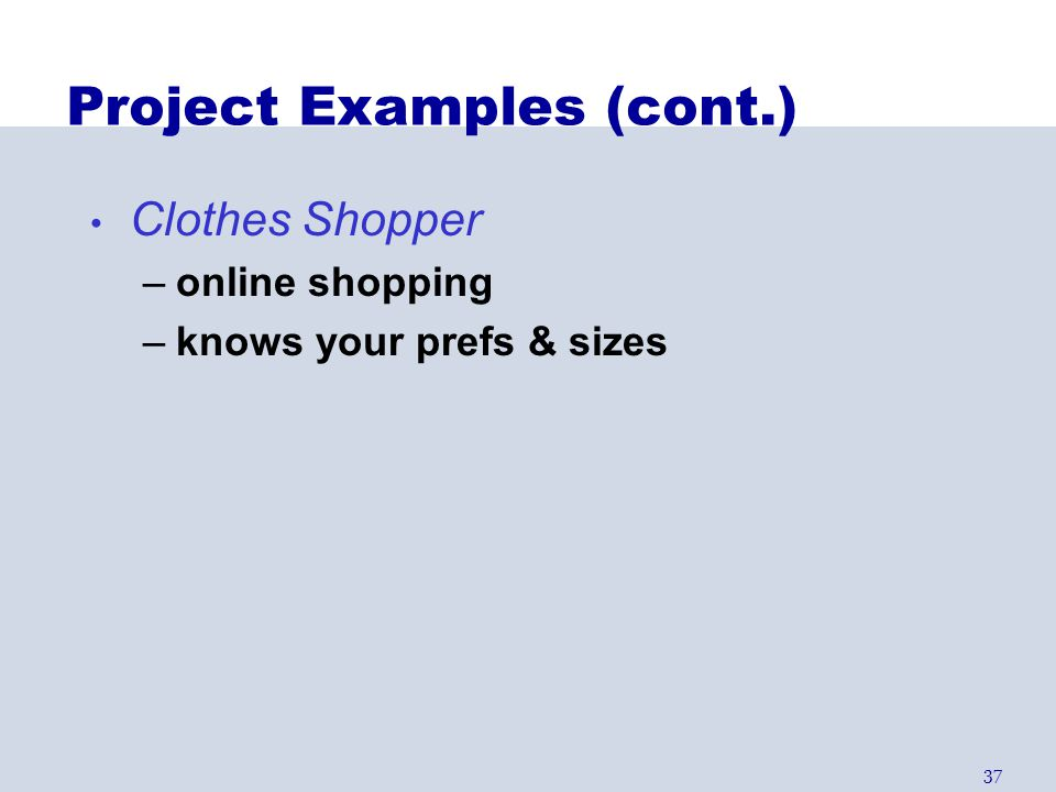 Project Examples (cont.)