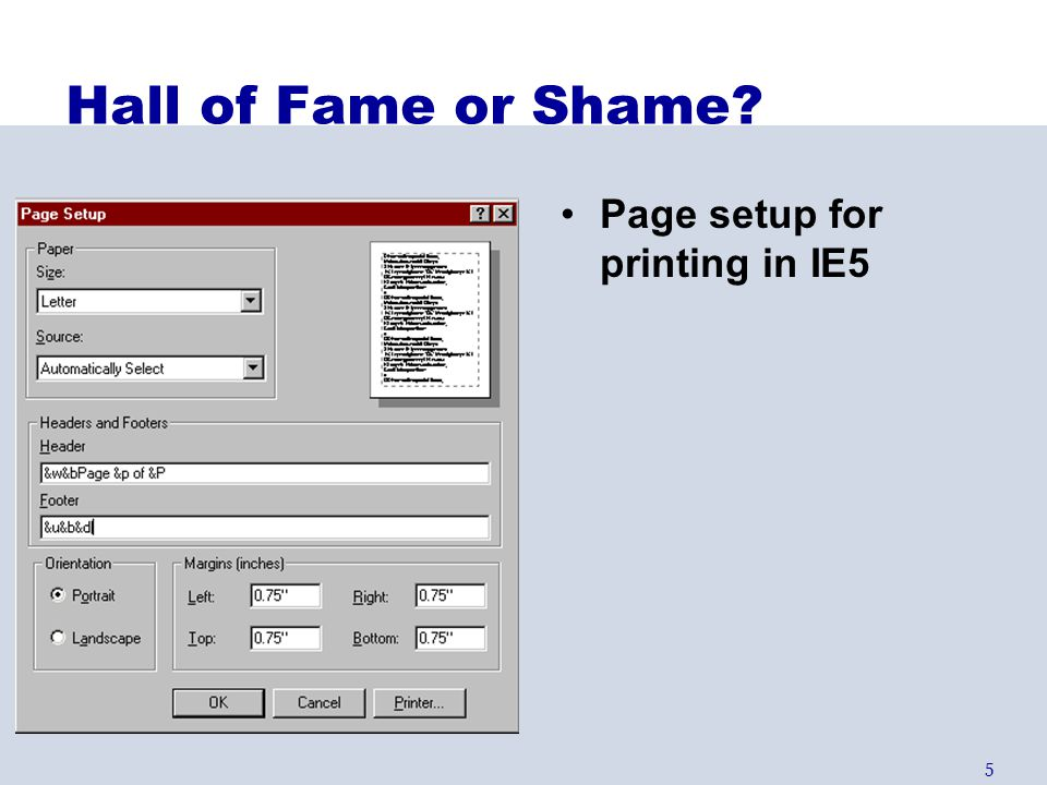 Hall of Fame or Shame Page setup for printing in IE5