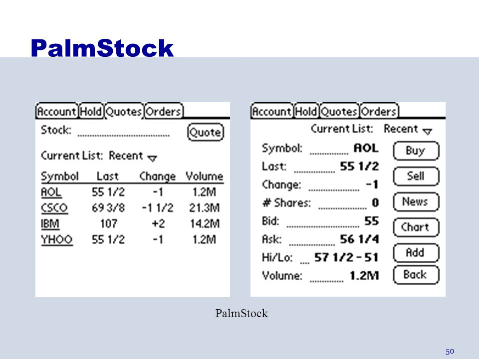 PalmStock PalmStock brings up a FOCUS screen entire line is selectable