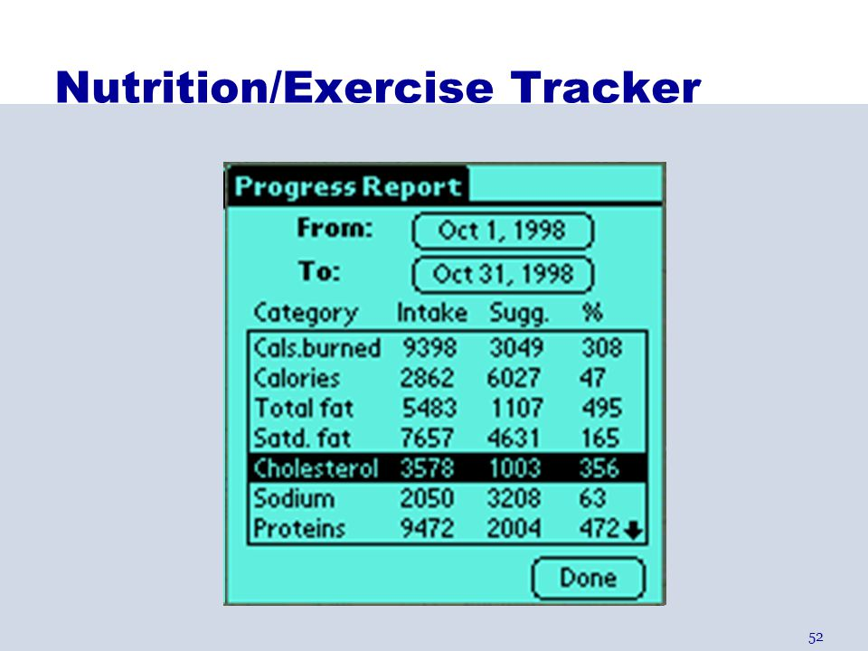 Nutrition/Exercise Tracker