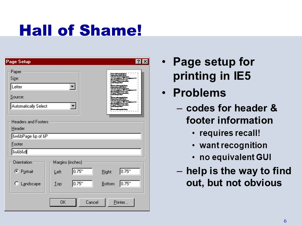 Hall of Shame! Page setup for printing in IE5 Problems