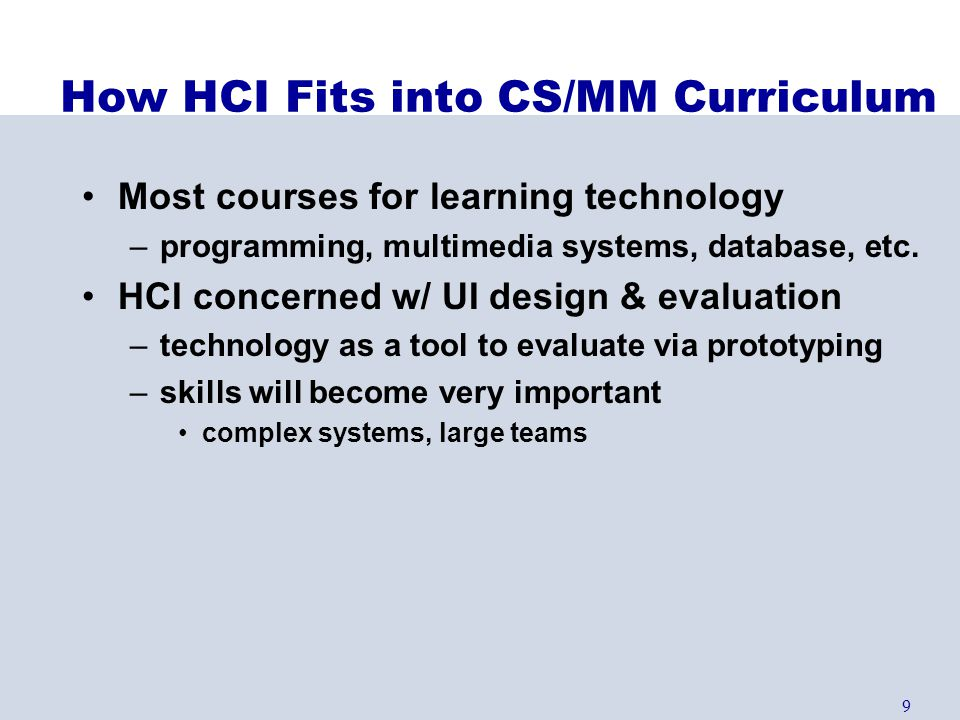How HCI Fits into CS/MM Curriculum