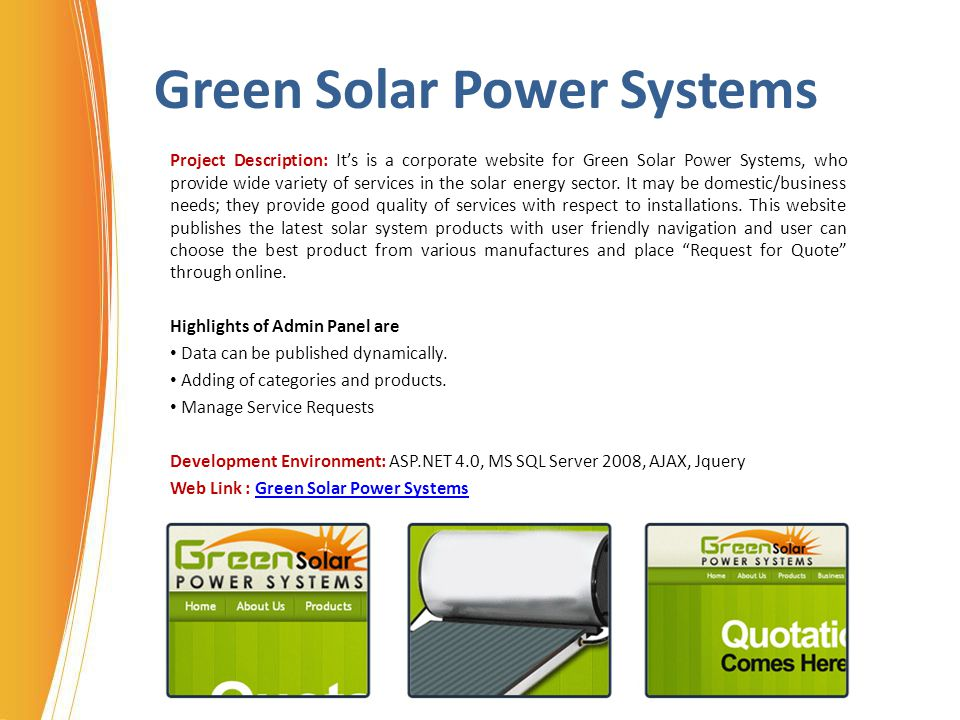 Green Solar Power Systems