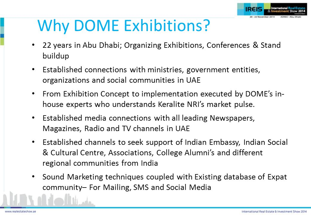 Why DOME Exhibitions 22 years in Abu Dhabi; Organizing Exhibitions, Conferences & Stand buildup.